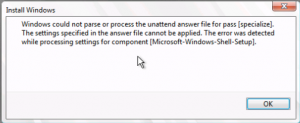 VMware: Windows could not parse or process the unattend